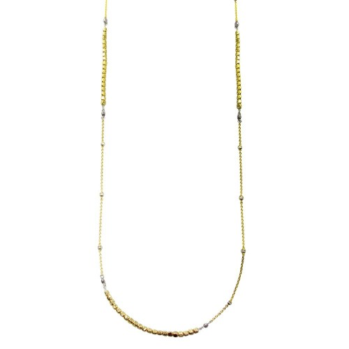 Wholesale Sterling Silver 925 Gold Plated 38 Inches Chain Cube Beaded Necklace - ECN00057GP
