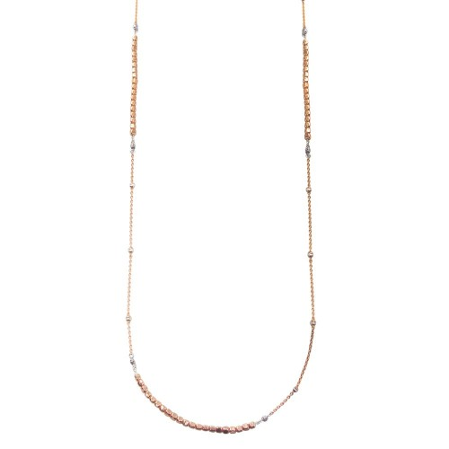 Wholesale Sterling Silver 925 Rose Gold Plated 38 Inches Chain Cube Beaded Necklace - ECN00057RGP