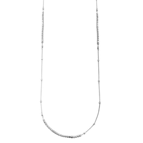 Wholesale Sterling Silver 925 Rhodium Plated 38 Inches Chain Cube Beaded Necklace - ECN00057RH