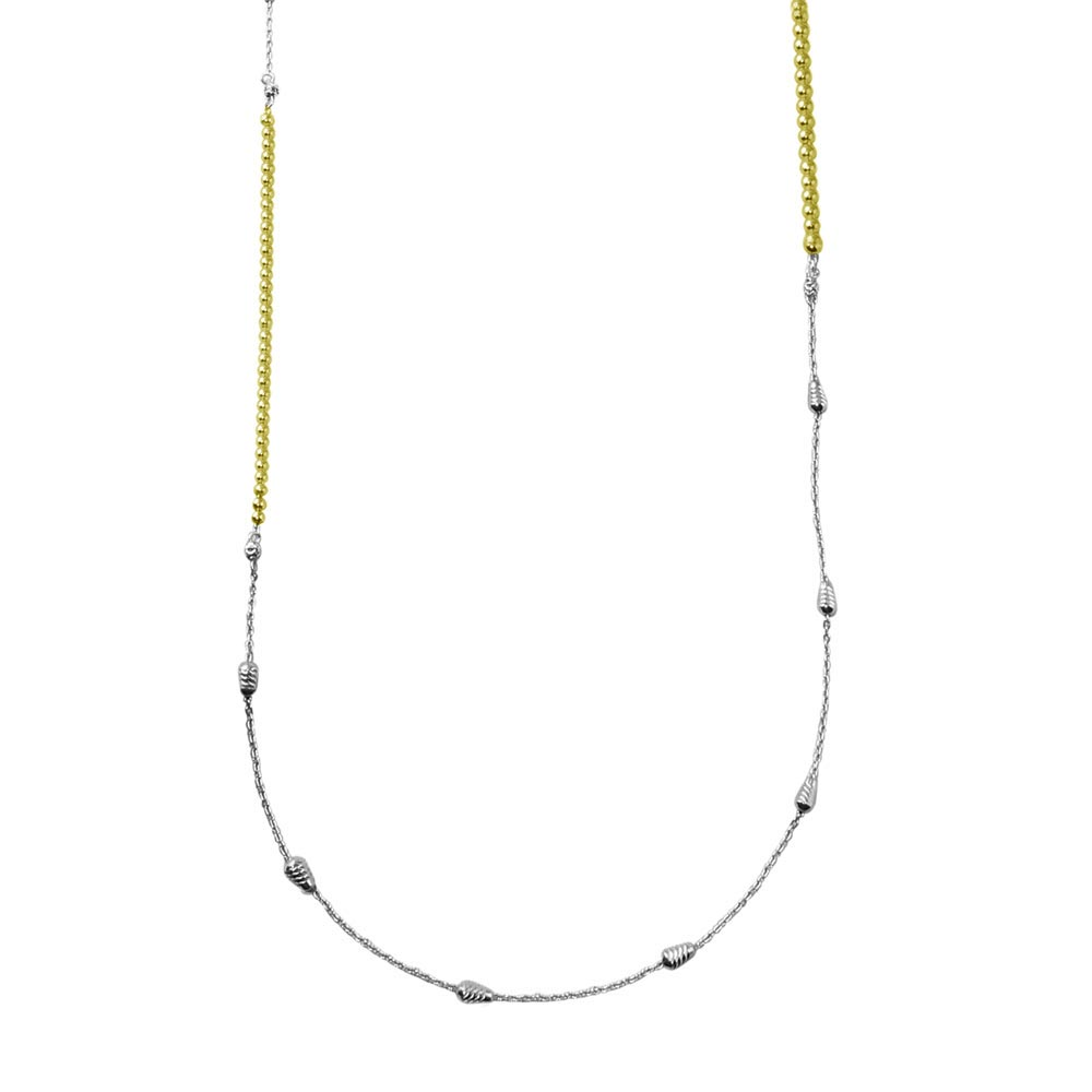 Wholesale Sterling Silver 925 Gold and Rhodium Plated 34 Inches Chain Beaded Necklace - ECN00058GP