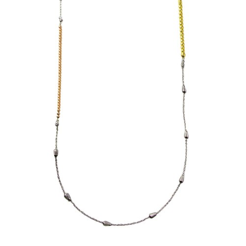 Wholesale Sterling Silver 925 Rose Gold, Gold and Rhodium Plated 34 Inches Chain Beaded Necklace - ECN00058RGP