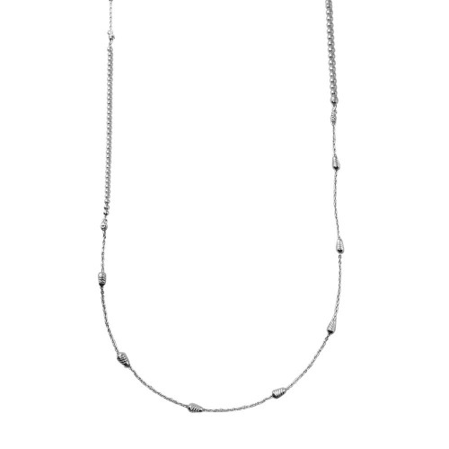 Wholesale Sterling Silver 925 Rhodium Plated 34 Inches Chain Beaded Necklace - ECN00058RH