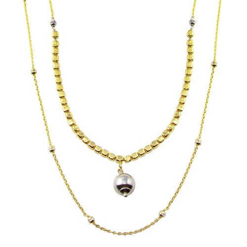 Wholesale Sterling Silver 925 Gold Plated Multi Chain Cube and Bead Necklace - ECN00059GP