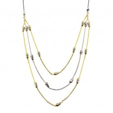 Wholesale Sterling Silver 925 Gold and Rhodium Plated Multi Chain DC Bar Necklace - ECN00060RGP