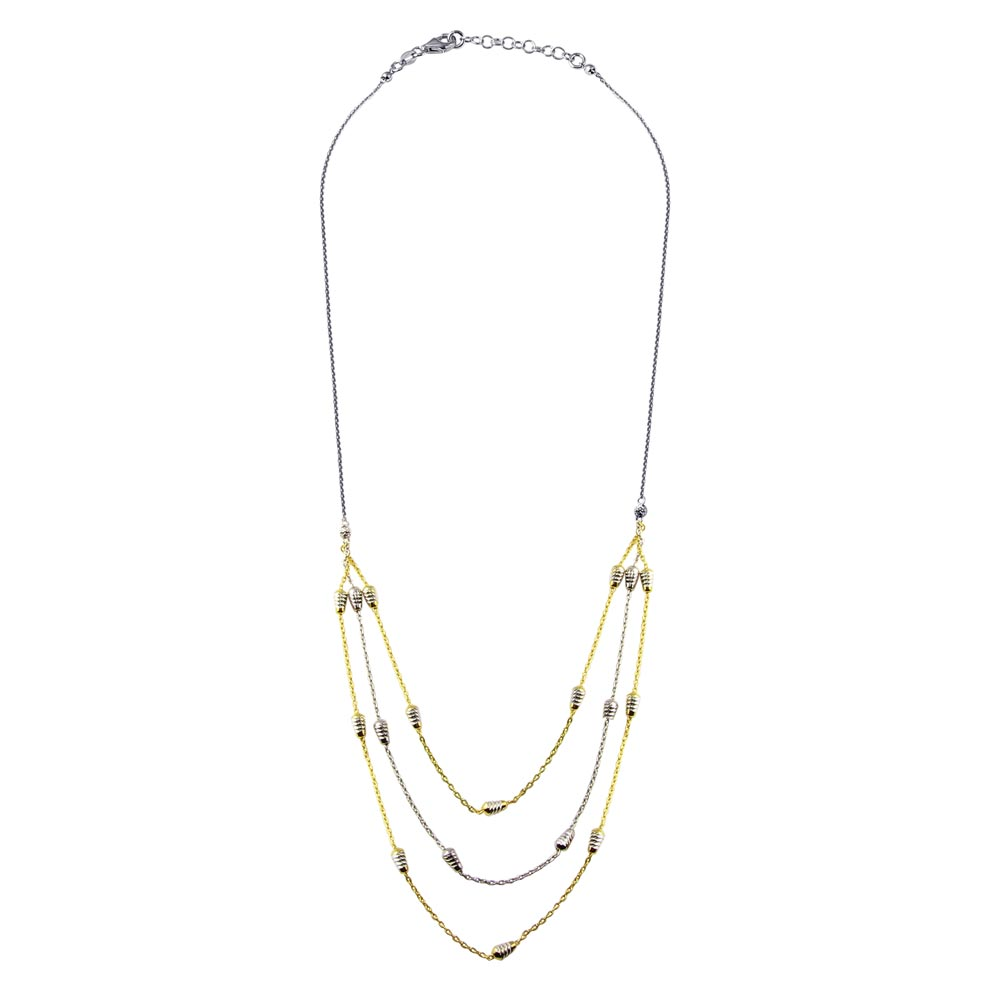 Wholesale Sterling Silver 925 Gold and Rhodium Plated Multi Chain DC Bar Necklace - ECN00060GP