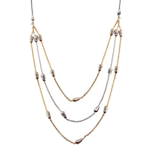 Wholesale Sterling Silver 925 Rose Gold and Rhodium Plated Multi Chain DC Bar Necklace - ECN00060RGP