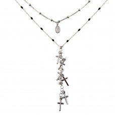 Wholesale Sterling Silver 925 Rhodium Plated Dangling Crosses Enamel Bead Necklace - ECN00061RH