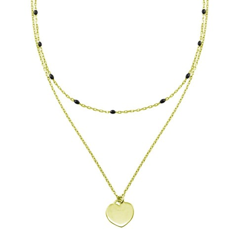 Wholesale Sterling Silver 925 Gold Plated Multi Chain Black Enamel Beaded Heart Necklace - ECN00062GP