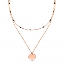 Wholesale Sterling Silver 925 Rose Gold Plated Multi Chain Black Enamel Beaded Heart Necklace - ECN00062RGP