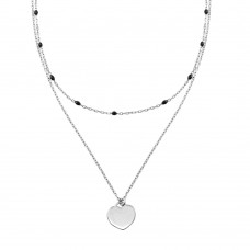 Wholesale Sterling Silver 925 Rhodium Plated Multi Chain Black Enamel Beaded Heart Necklace - ECN00062RH
