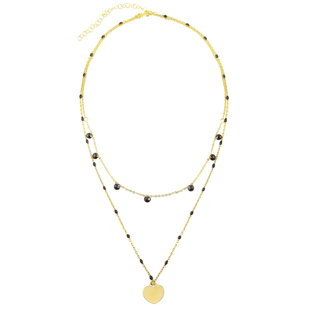 Wholesale Sterling Silver 925 Gold Plated Multi Chain Black CZ Enamel Beaded Heart Necklace - ECN00063GP