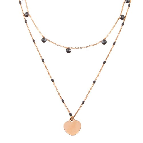 Wholesale Sterling Silver 925 Rose Gold Plated Multi Chain Black CZ Enamel Beaded Heart Necklace - ECN00063RGP
