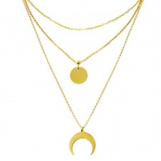 Wholesale Sterling Silver 925 Gold Plated Multi Chain White Enamel Beaded Disc and Crescent Necklace - ECN00065GP