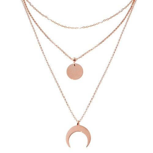 Wholesale Sterling Silver 925 Rose Gold Plated Multi Chain White Enamel Beaded Disc and Crescent Necklace - ECN00065RGP