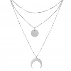 Wholesale Sterling Silver 925 Rhodium Plated Multi Chain White Enamel Beaded Disc and Crescent Necklace - ECN00065RH