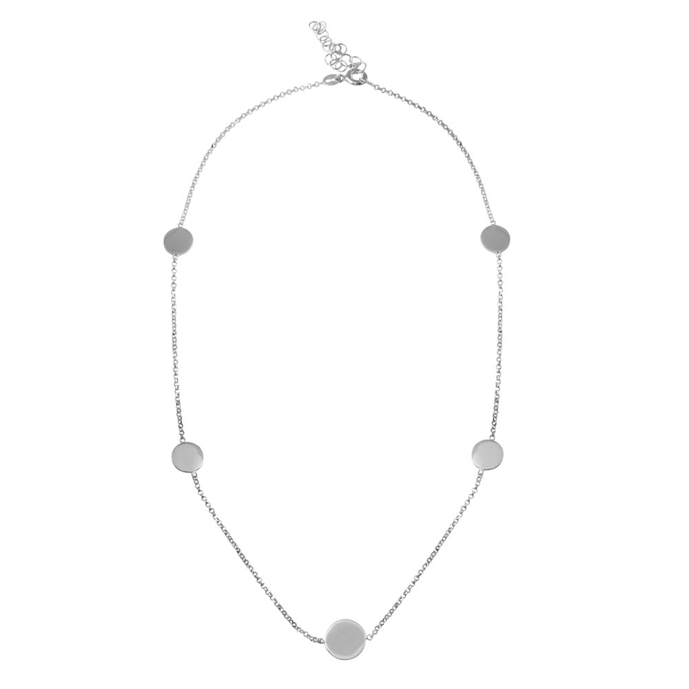 Wholesale Sterling Silver 925 Rhodium Plated Disc Chain Bead Necklace - ECN00067RH