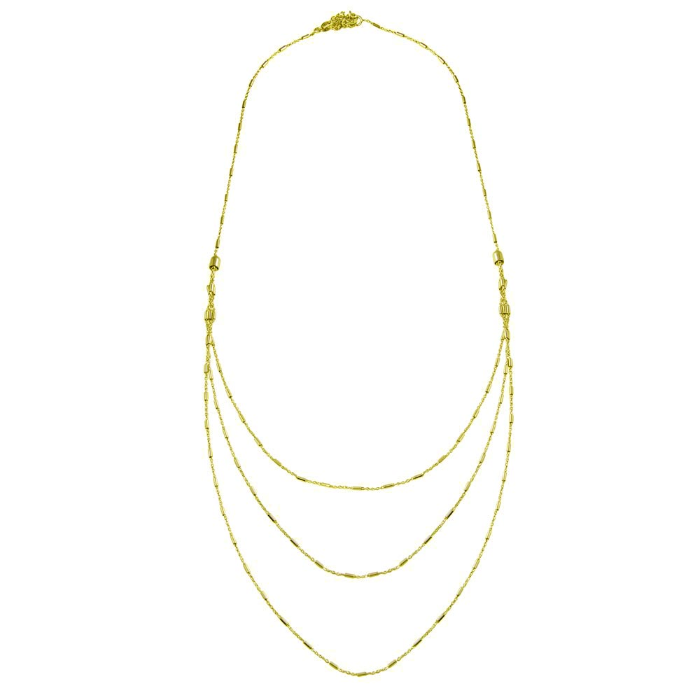 Wholesale Sterling Silver 925 Gold Plated Multi Chain Bar Necklace - ECN00068GP