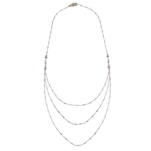 Wholesale Sterling Silver 925 Rhodium Plated Multi Chain Bar Necklace - ECN00068RH