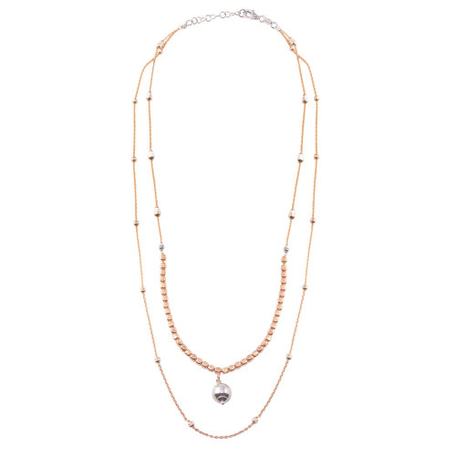 Wholesale Sterling Silver 925 Rose Gold Plated Multi Chain Bead Necklace - ECN00069RGP