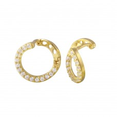 Wholesale Sterling Silver 925 Gold Plated CZ Twisted Hoop Earrings - GME00019
