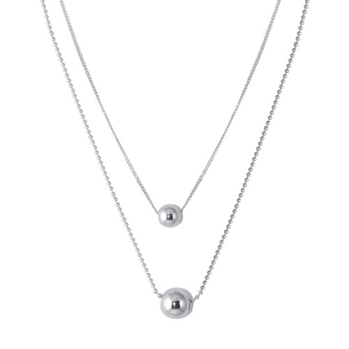 Wholesale Sterling Silver 925 Rhodium Plated Double Chain Beaded Necklace - SOP00090