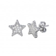 Wholesale Sterling Silver 925 Rhodium Plated Star CZ Stud Earrings - STE01195
