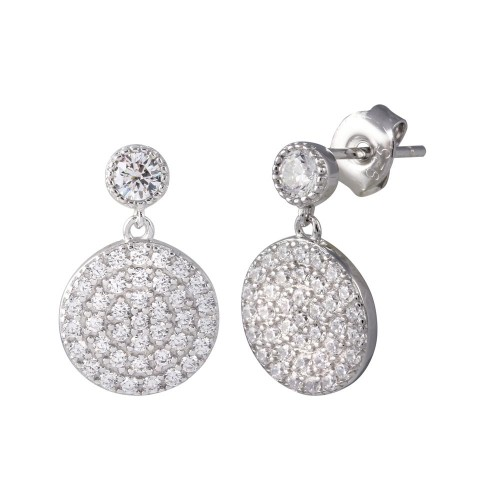 Wholesale Sterling Silver 925 Rhodium Plated Round CZ Dangling Earrings - STE01196