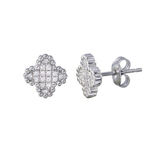 Wholesale Sterling Silver 925 Rhodium Plated Clover CZ Stud Earrings - STE01197