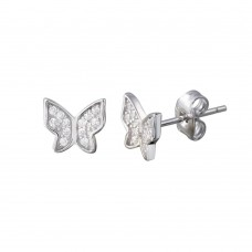 Wholesale Sterling Silver 925 Rhodium Plated Butterfly CZ Stud Earrings - STE01198