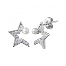 Wholesale Sterling Silver 925 Rhodium Plated CZ Half Star Pearl Stud Earrings - STE01200
