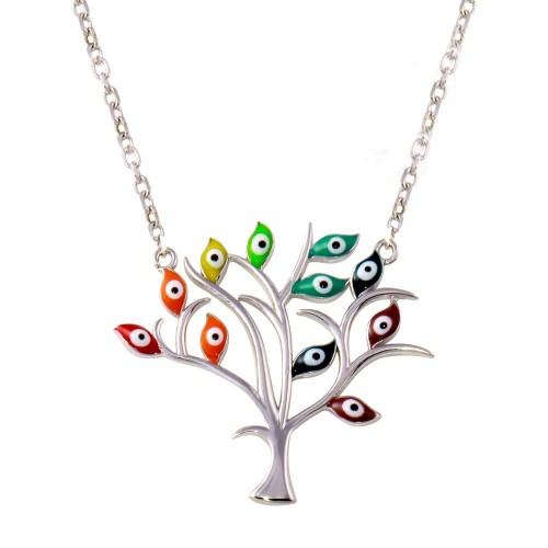 Wholesale Sterling Silver 925 Rhodium Plated Evil Eye Tree of Life Necklaces - STP01738