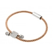 Sterling Silver Rhodium & Rose Gold Rhodium Plated Square Micro Pave Clear CZ Beaded Italian Bracelet ITB00169RGP