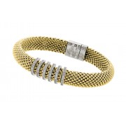 Sterling Silver Gold Plated Micro Pave Clear CZ Beaded Italian Bracelet PSB00001GP