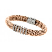 Sterling Silver Rose Gold Plated Micro Pave Clear CZ Beaded Italian Bracelet PSB00001RGP