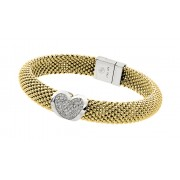 Sterling Silver Gold Plated Micro Pave Heart Clear CZ Beaded Italian Bracelet PSB00002GP