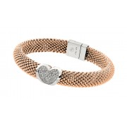 Sterling Silver Rose Gold Plated Micro Pave Clear CZ Beaded Italian Bracelet PSB00002RGP